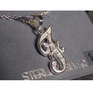 Sterling Silver Letter F Charm Pendent Necklace